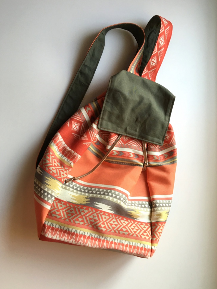tribal print bucket backpack