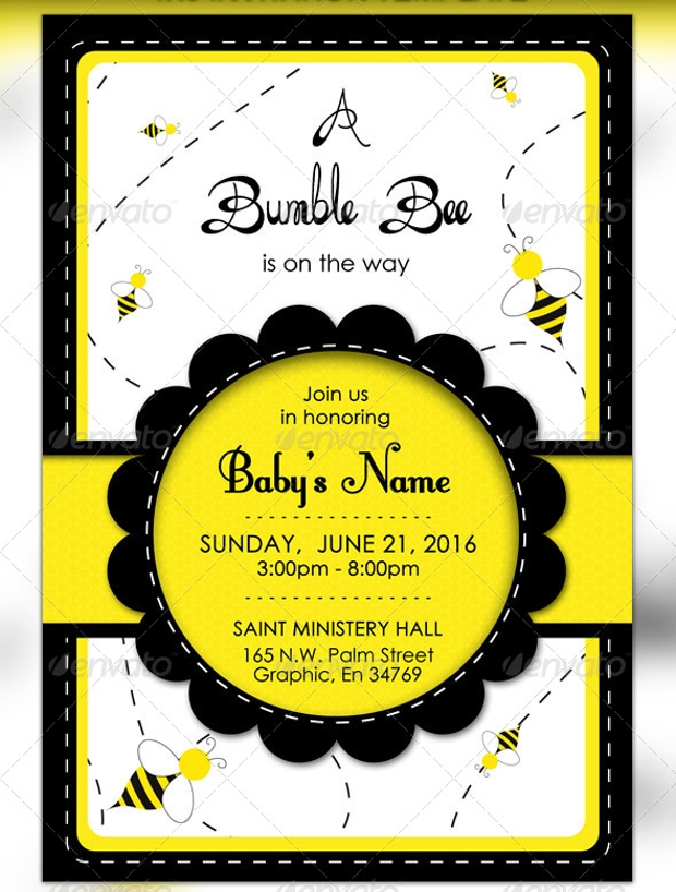 bumble bee baby raffle ticket