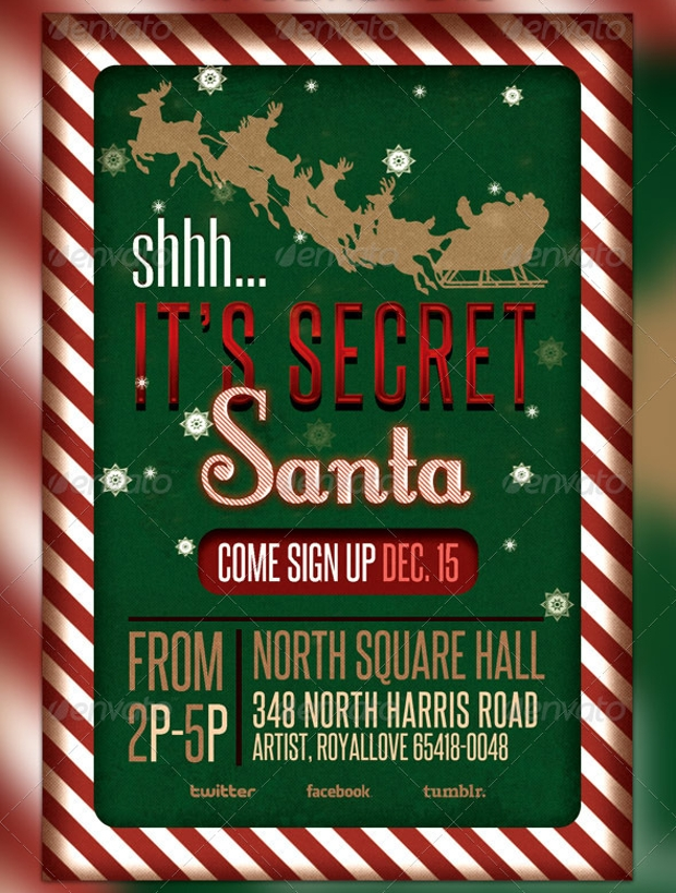 secret santa raffle ticket flyer