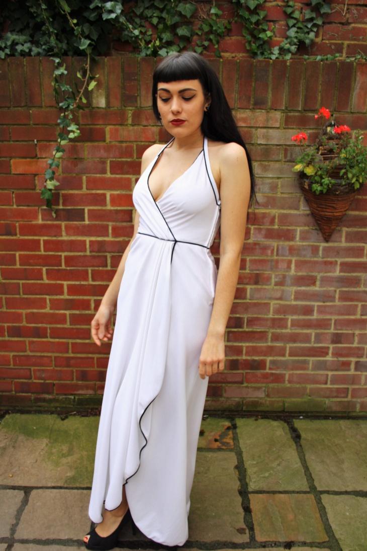 white plunge dress