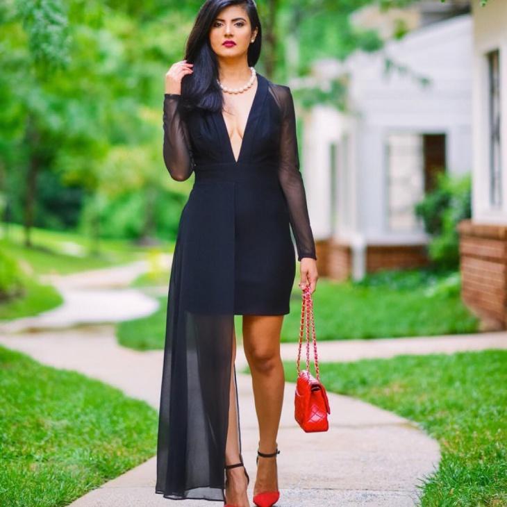 trendy plunge dress idea