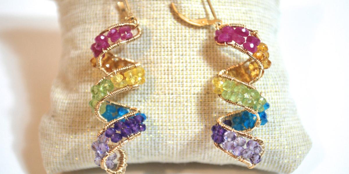 rainbow gemstone spiral earrings