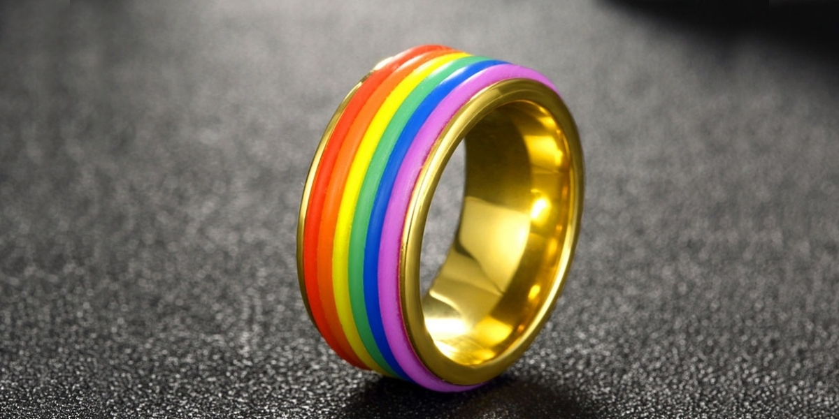 titanium rainbow equality ring