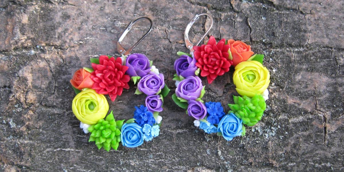 rainbow dangle earrings design