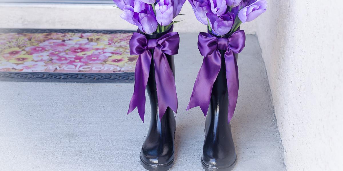 spring decorated rain boot vase