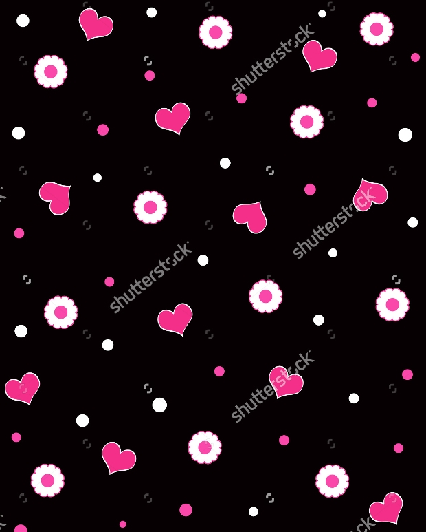 funky hearts on black background