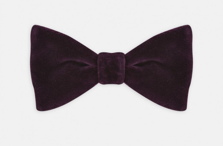 purple velvet bow tie design for men