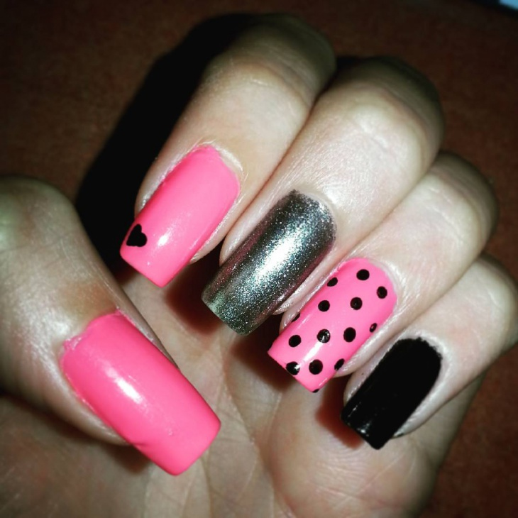 Pink And Black Long Nails