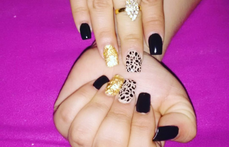 Black Prom Leopard Nail Design