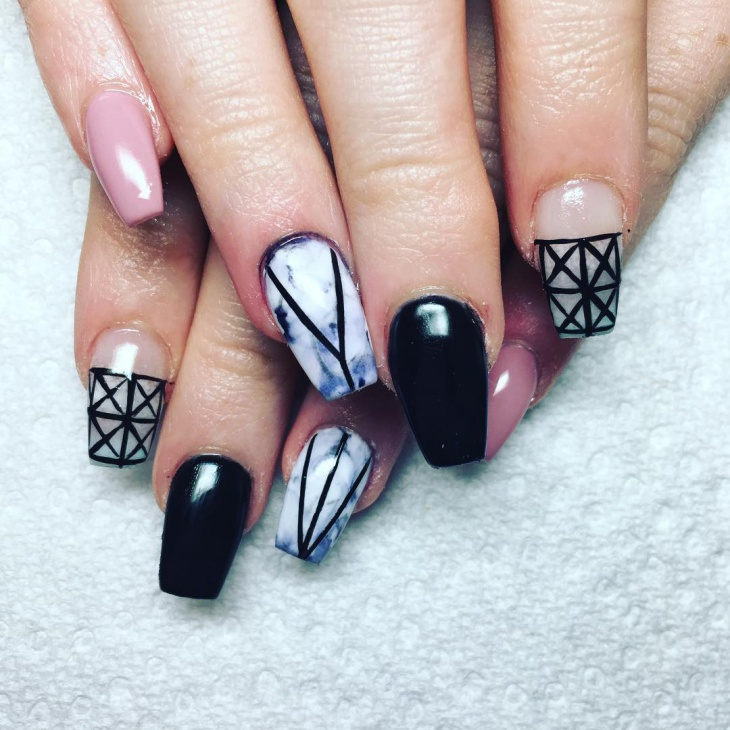 geometric black prom nails