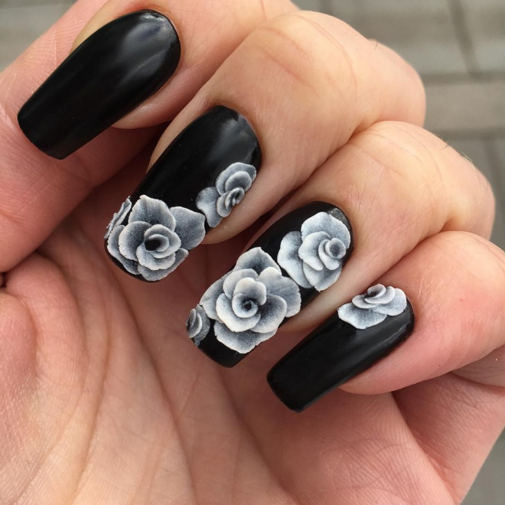 3D Black Long Nail Designs