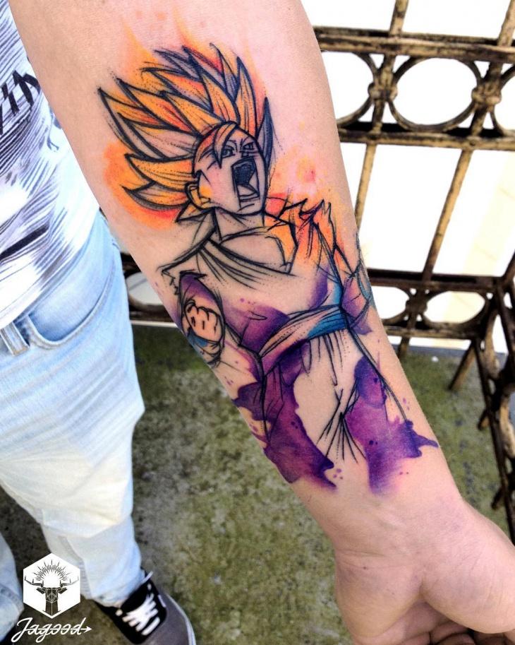 watercolor dragon ball tattoo