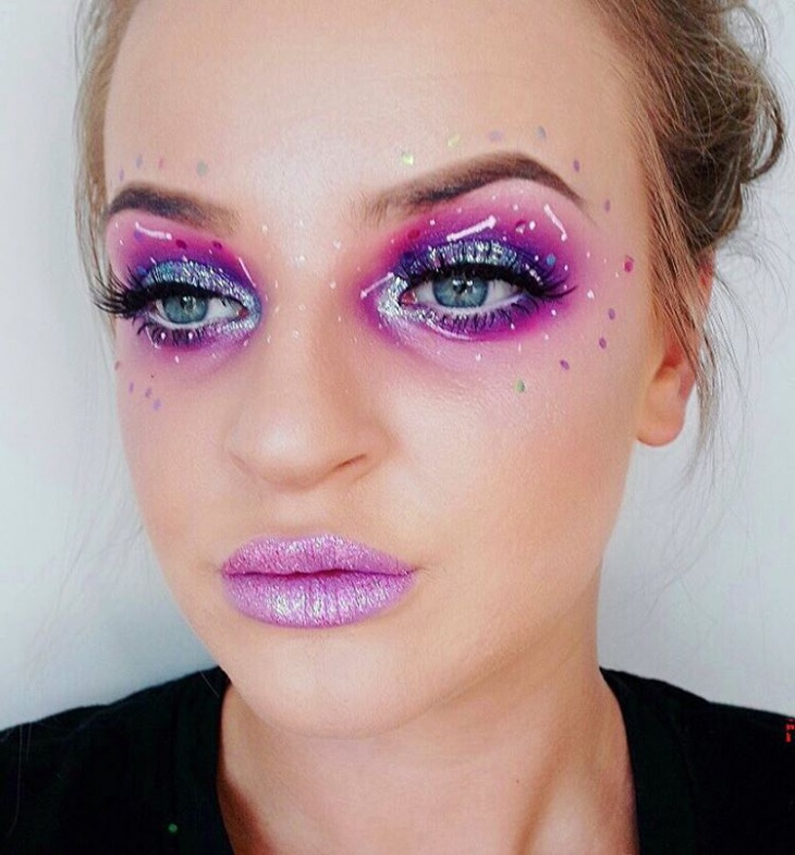 glitter galaxy makeup design