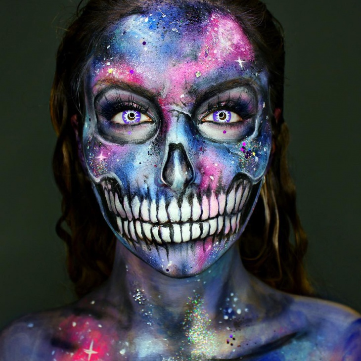 galaxy skull makeup idea