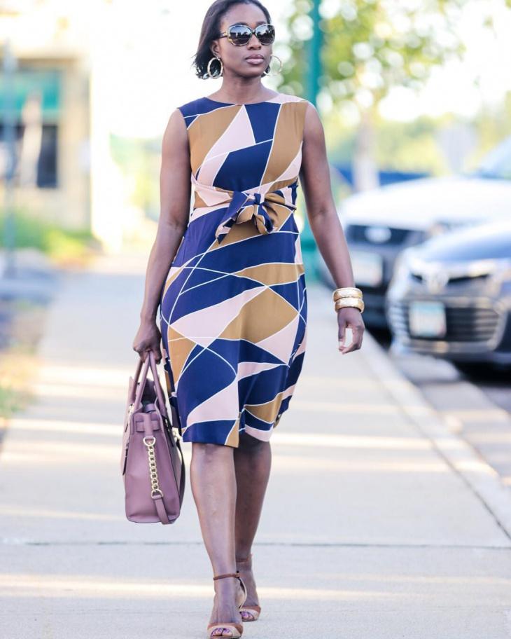 Geometric Print Tie Front Dress