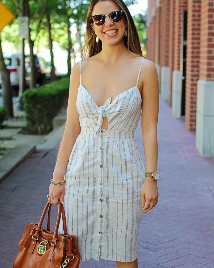 modern tie front dress