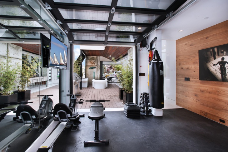 midcentury garage gym