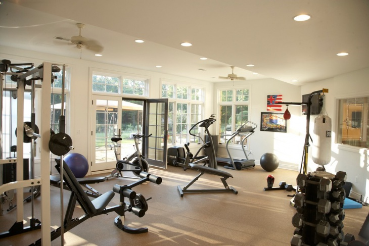 transitional garage gym design