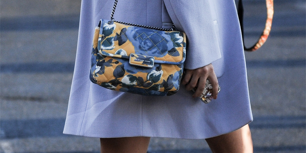 fashion blue floral handbag