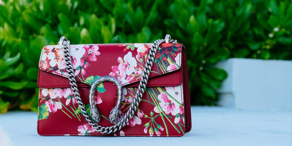 red floral print leather bag