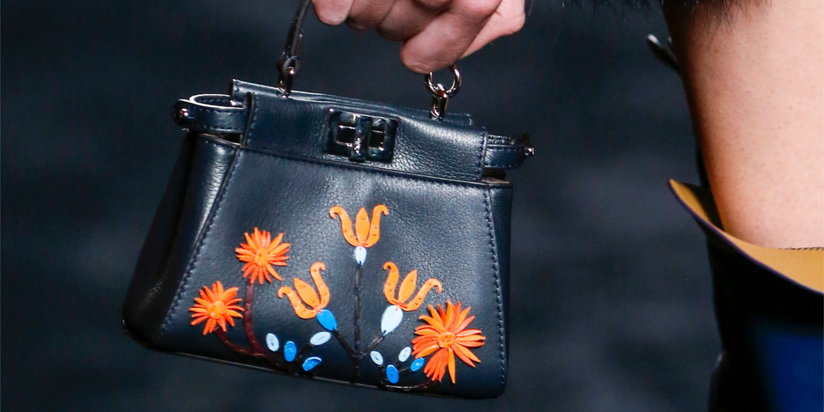 black floral embroidered peekaboo micro bag