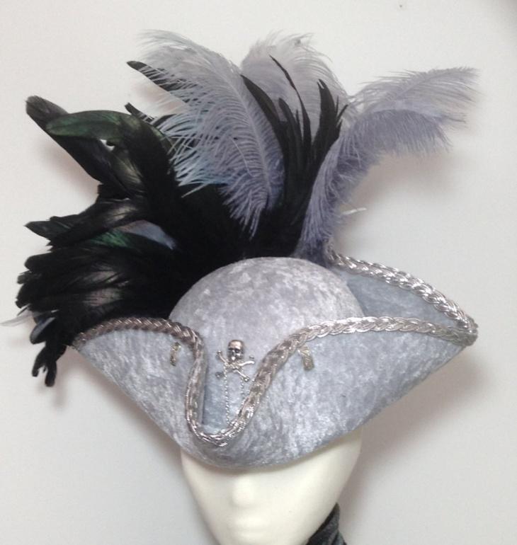 Velvet Tricorn Hat Model