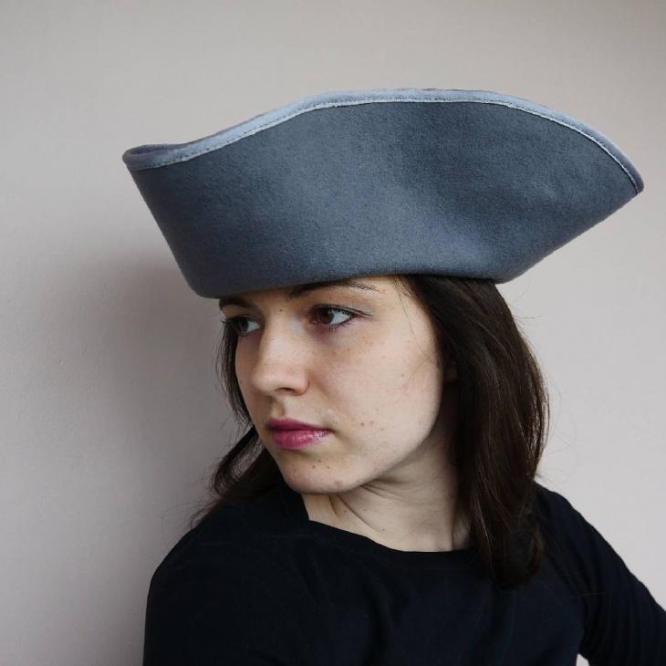 gray tricorn hat idea