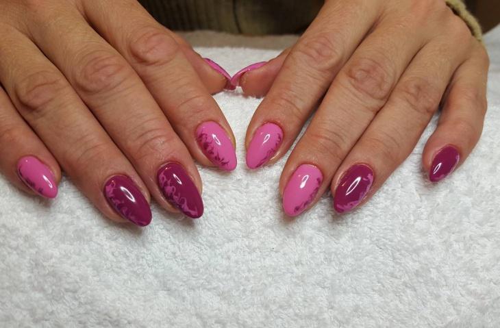 pink gel nail design