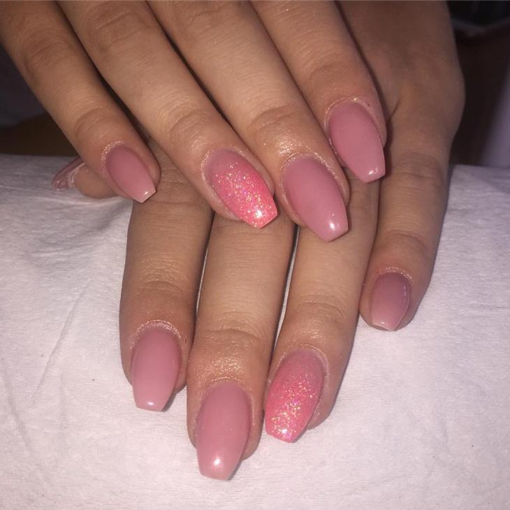 pink glitter nail design