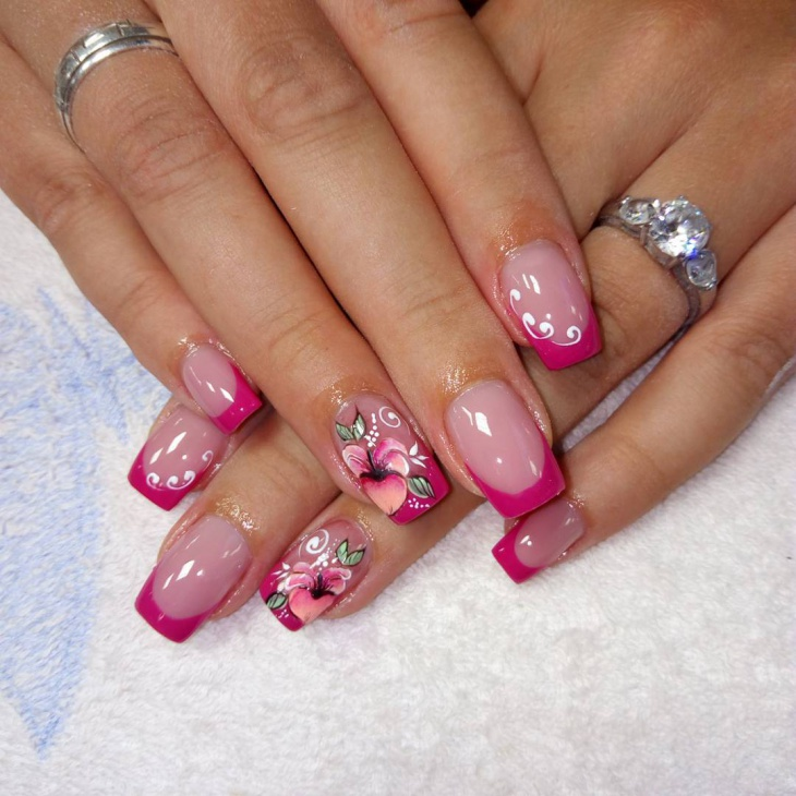 Beautiful Pink Flower Nails