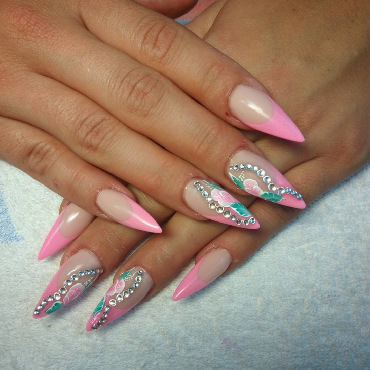 cute pink nail art idea