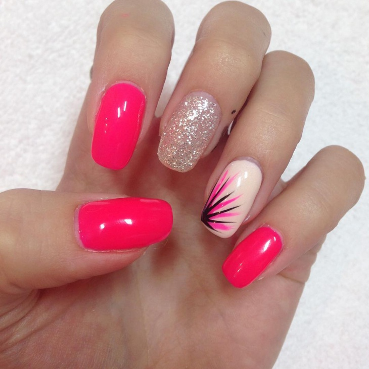 Easy Pink Nail Design Idea