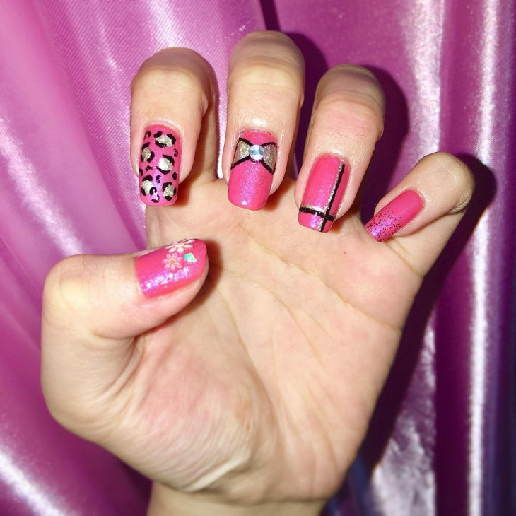Awesome Pink Nail Art Design