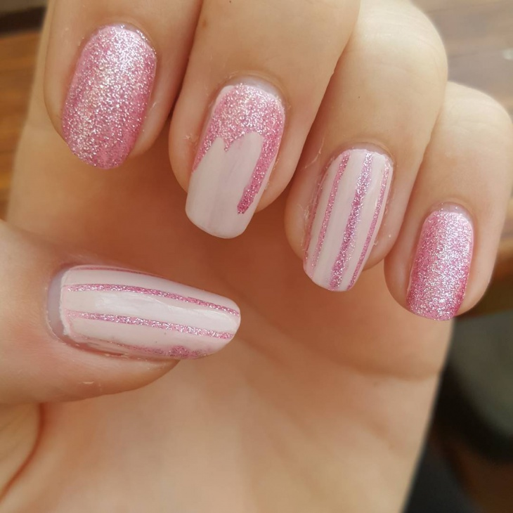 Simple Pink Glitter Nails