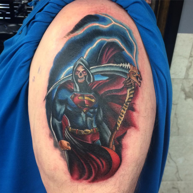 evil superman tattoo