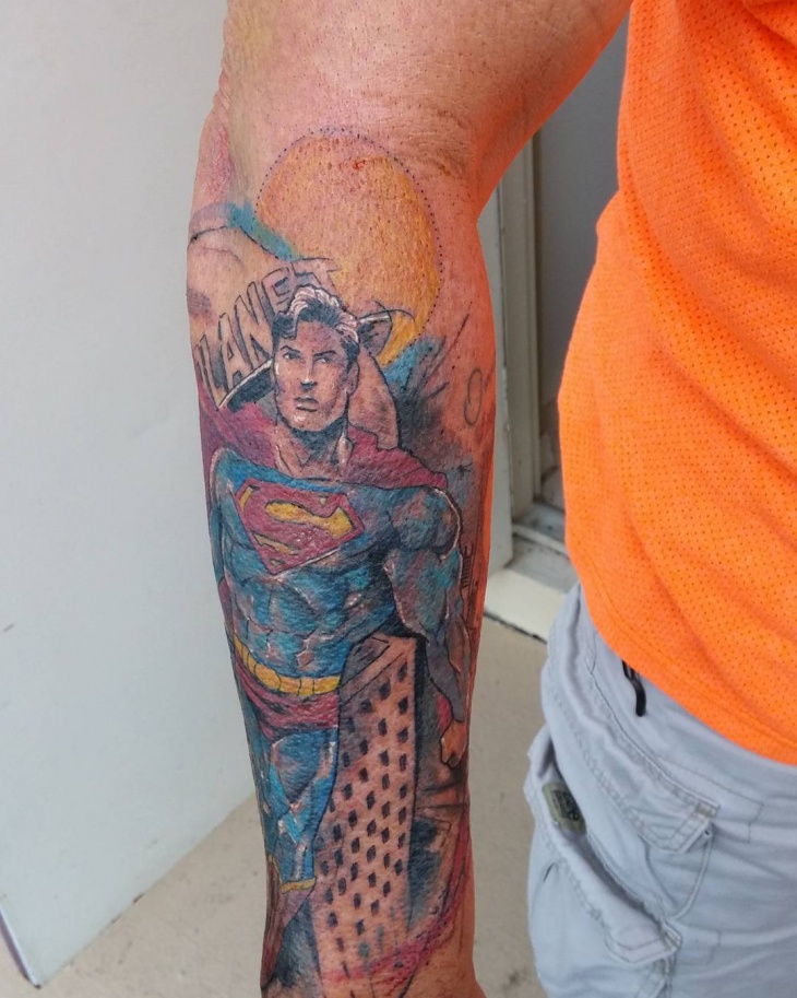 superman tattoo on hand