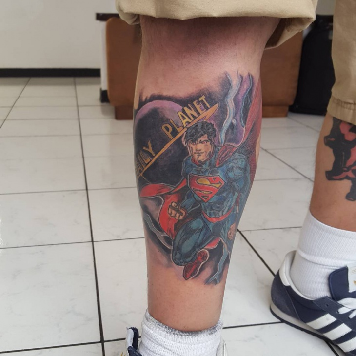 superman tattoo on leg