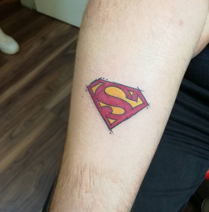 simple superman tattoo for men