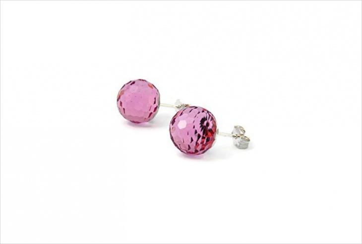 Pink Ball Earrings Idea