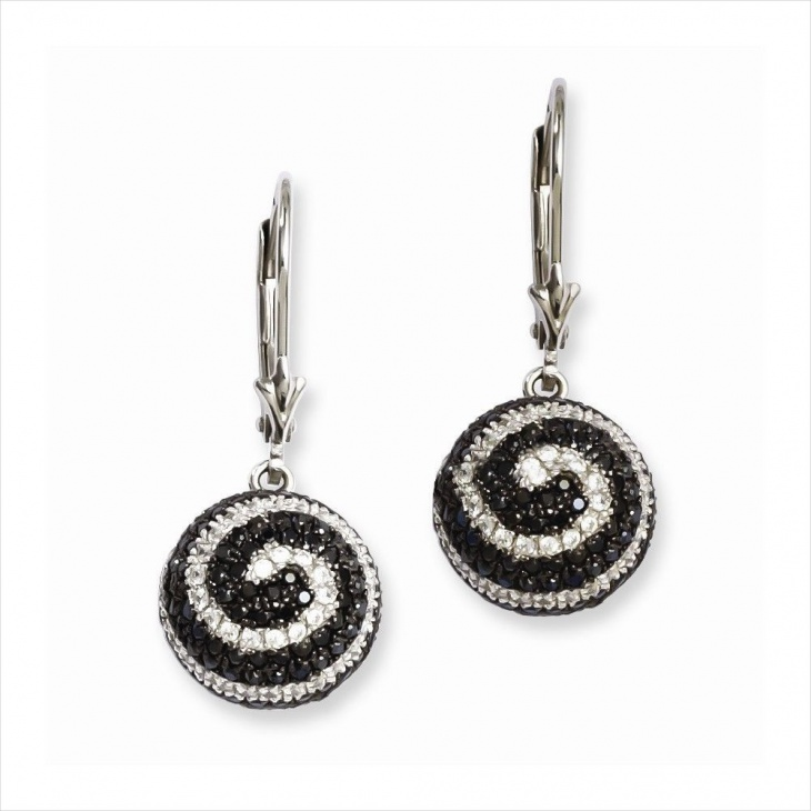 black and white crytal ball earrings