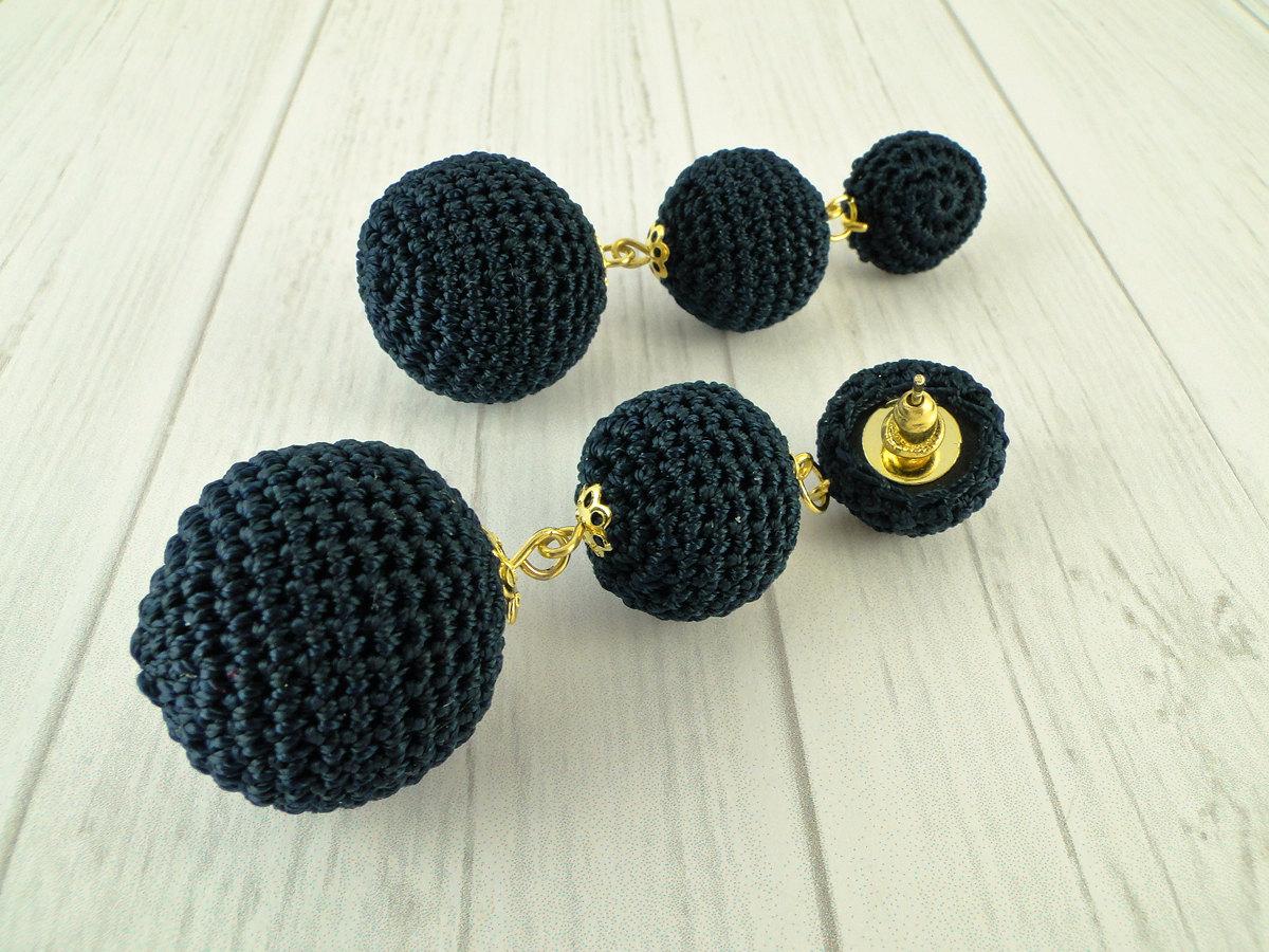Black Crochet Ball Earrings