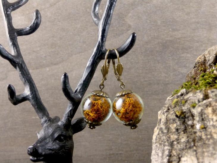 Real Moss Ball Earrings