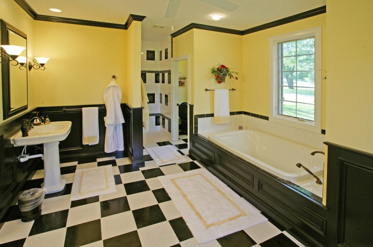 black and white bathroom tile design idea