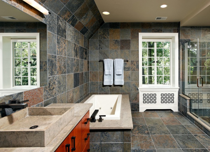 slate tile bathroom design
