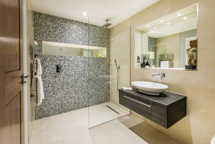 mosaic shower tile bathroom