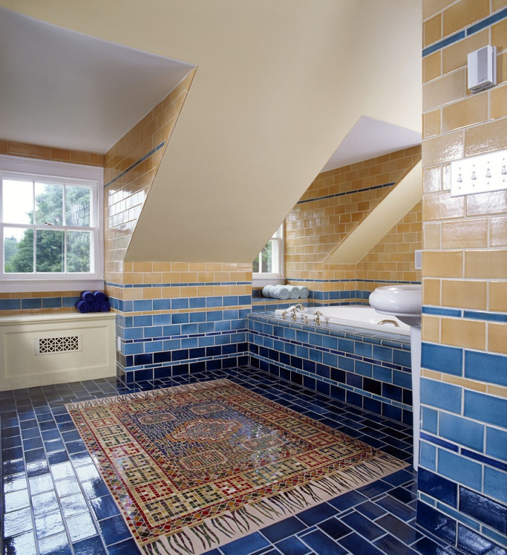 colorful bathroom floor tiles idea