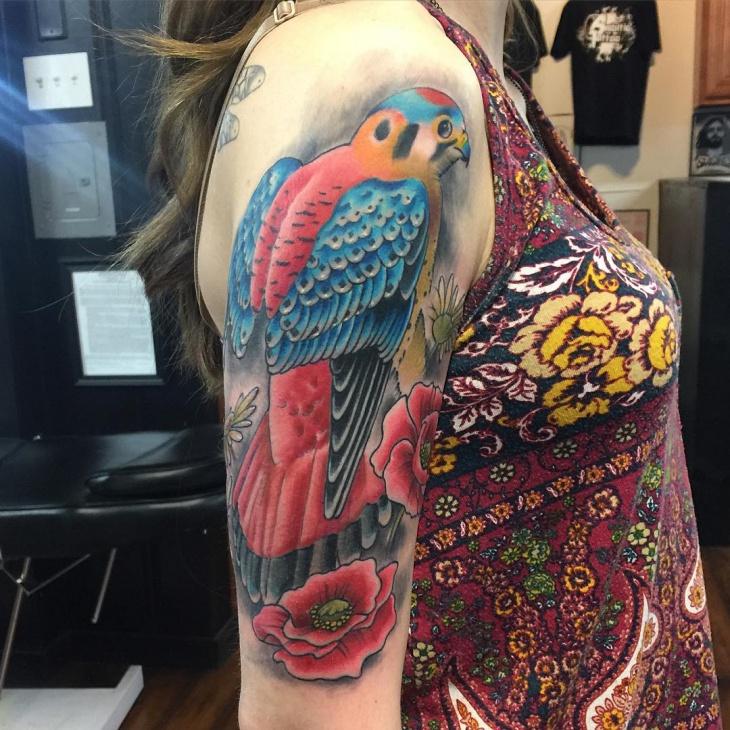 Colorful Falcon Tattoo