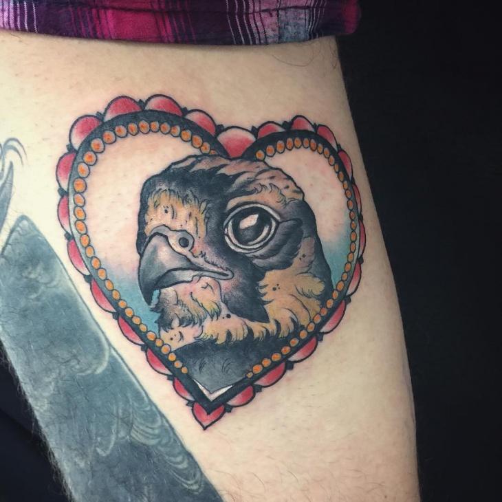 Beautiful Falcon Tattoo Design