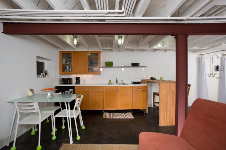 low ceiling basement kitchen