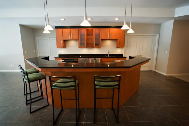 contemporary basement kitchen